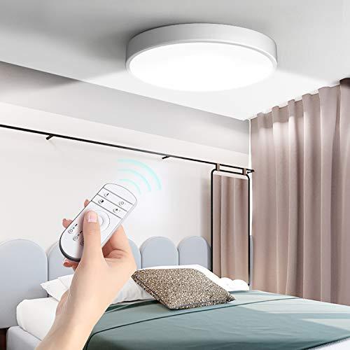 36W Dimmbar LED Modern Deckenlampe, Ultraslim Deckenleuchte mit fernbedienung, Ø50cm*5cm, IP20 Wasserfest Badlampe, ideal für Bad küchen Schlafzimmer Wohnzimmer Balkon Büro Esszimmer Badezimmer Flur