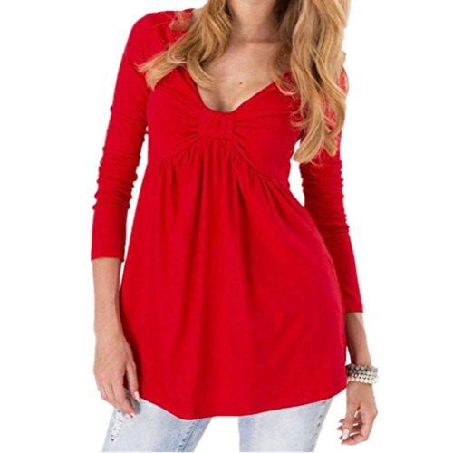 DOLDOA Frauen Top V Neck Langarm Tunika Jumper Casual Bluse (EU:40-46, Rot)