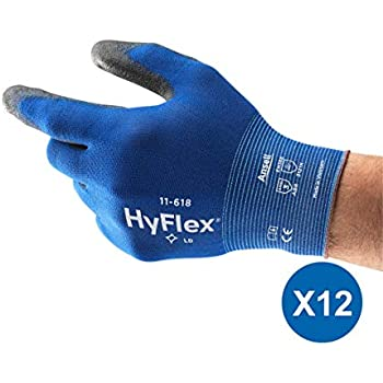Mechanikschutz HyFlex Ansell 11-818 // 6 Mehrzweckhandschuhe 12 Paar pro Beutel Gr/ö/ße 6 Blau