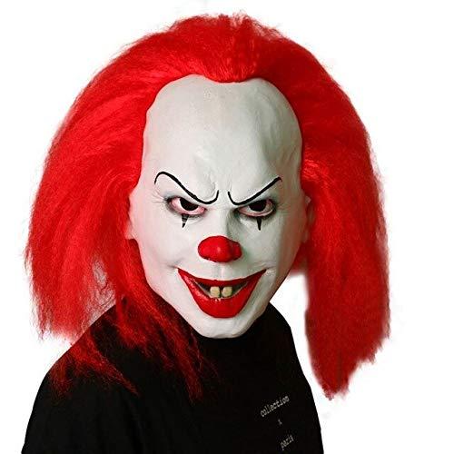 Dodom Rotes Haar Gruseliges Latex 1990 Stephen Kings Es Clown Pennywise Kostüm Party Maskenkleid Lustige Cosplay Joker Clown Masken, Rot