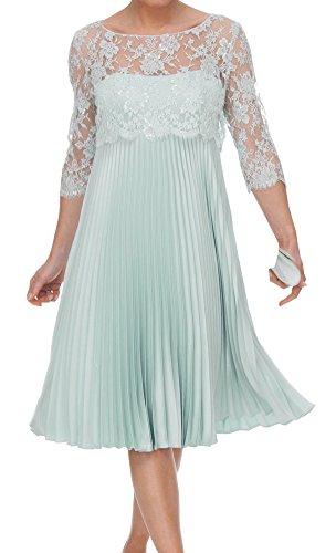 ShineGown Mutter der Braut Outfits Zweiteilige Spitze Pailletten Jacke Chiffon Falten Tee-Länge Kleid (Blau, 46) -