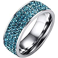 Yc Top Fashion Personalizza titanio-Anello in acciaio con Zirconia cubica - Blu Auto Lights