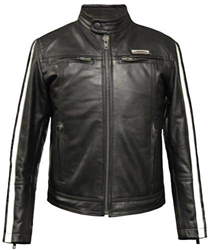 Childrens Kids Boys Girls Real Genuine Leather Motorcycle Biker Classic Custom Moto Cruiser Motorbike Jacket Black