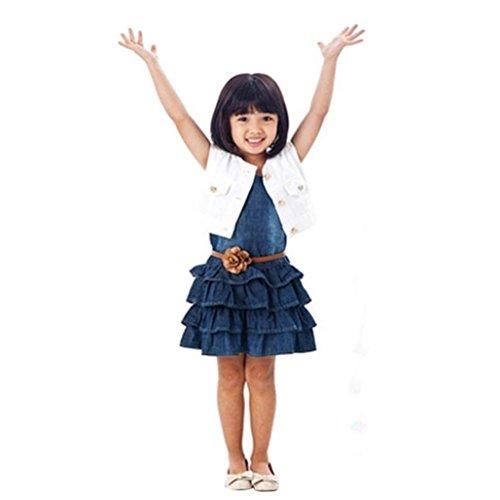 Elecenty Mädchen Prinzessin Kleid,Tutu Kleid Kinder Solide Weste Jeans Kleid Strandkleid Jacke Set Sommerkleid Kleider Kinderkleidung Partykleid Ärmellos Tüllkleid Hochzeitskleid (120, Blau) (181 Jeans)