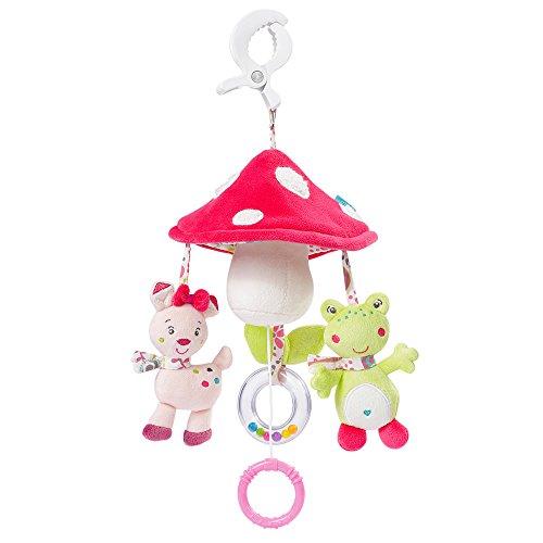 Fehn 076530 Mini-Musik-Mobile Pilz - Spieluhr-Mobile für Unterwegs zum Befestigen an Kinderwagen oder Babyschale - für Babys und Kleinkinder ab 0+ Monaten