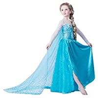 ELSA & ANNA UK Girls Party Outfit Fancy Dress Snow Queen Princess Halloween Costume Cosplay Dress