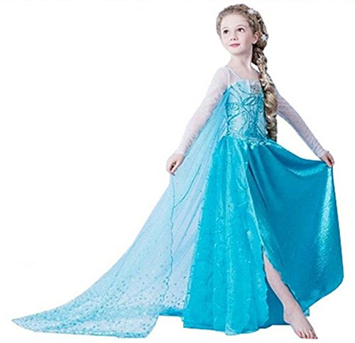 ELSA & ANNA® Filles Reine des Neiges Princesse Partie Costumée Déguisements Robe de Soirée FR-DRESS-SEP302 (5-6 Ans, FR-SEP302)