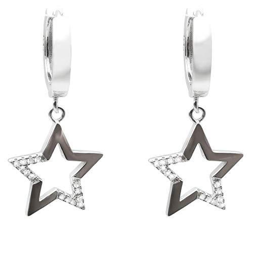 Stern Ohrringe Damen 925 Sterling Silber mit 5A Zirkonia Haken Tropfen Baumeln Ohrringe Frauen Schmuck Geschenke für Sie