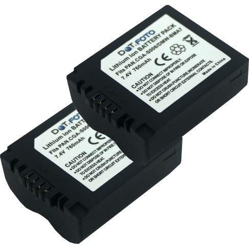 2 x Dot.Foto Batterie de qualité pour Panasonic CGR-S006E, DMW-BMA7 - 7,4v / 760mAh - garantie de 2 ans - Panasonic Lumix DMC-FZ7, DMC-FZ8, DMC-FZ18, DMC-FZ28, DMC-FZ30, DMC-FZ35, DMC-FZ38, DMC-FZ50