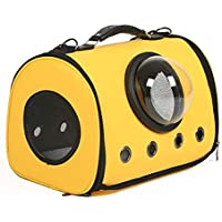 Anap Mochila for Mascotas Mochila portátil Transpirable con Abertura de Malla Seguridad Visible, Respaldo Extensible Más Espacio Ideal for Llevar Perros y Gatos (Color : Yellow)