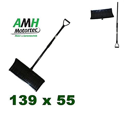 1x AMH-MOTORTEC Schneeschieber / Mit stabilem Stahl-Stiel / Schaufelbreite: 55 cm / Schneeschaufel Schneeräumung Schnee Schaufel Schieben
