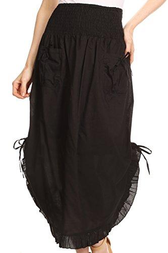 Sakkas 3118 - Coco Lange Baumwoll Rüschen Rock mit Taschen und elastischer Bund - Schwarz - OS -