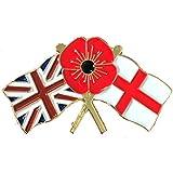 Badges - Spilla con bandiere Large Union e Inghilterra con papavero