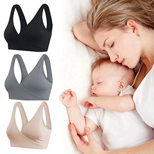 KOOYOL Damen Schwangerschafts Still BH für Stillen und Schlaf,Nahtlos Ohne Bügelk Mutterschaft BHS,Yoga-Sport-BHS im Trägershirt-Stil - 5