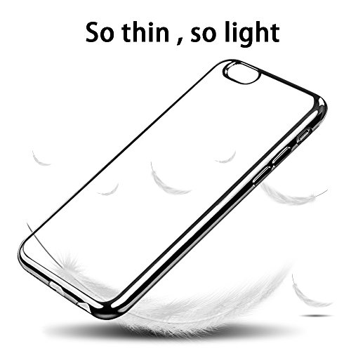 Coque iPhone 6s Plus , Ubegood Case iPhone 6 Plus [Ultra Mince] Coussin d'Air [Crystal Clear] Coque arrière transparente + Bumper en TPU - Rosé Noir