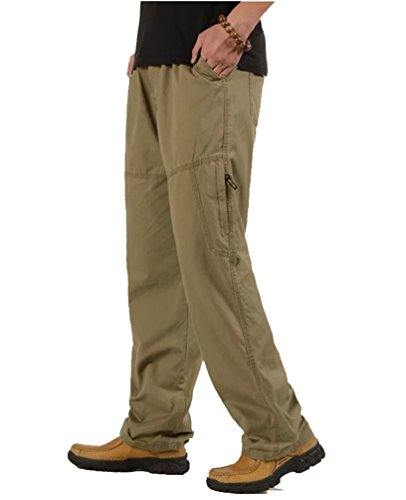 Ghope Herren Freizeithose einfarbig Baumwolle Cargohose Multi-Tasche Große Größe Feldhose erhalten Gürtel Kahki