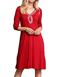 Ladies Stretchy Embellished Dress in Red, Black or Multi in Women's Sizes 8 up to Plus Size 30