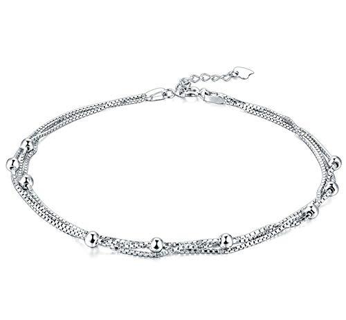 Beglie Damen Fußkettchen 925 Sterling Silber Dreischichtiger Ketten Ball Fuß Schmuck für Strand Silber Geschenk für Damen