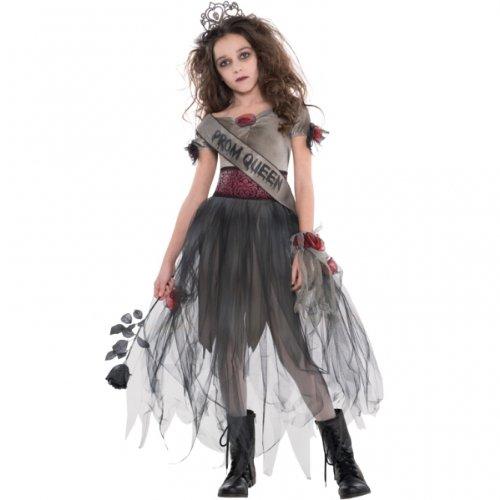 amscan 996997 Kinderkostüm Prombie Queen, Grau, 158/164 - Gute Hexe Kind Kostüm