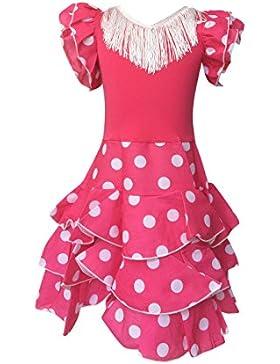 La Senorita Vestido ropa Flamenco Niño Lujo Español Traje de Flamenca chica/niños rosa blanco