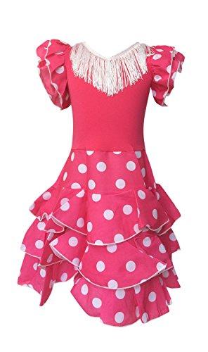 La Senorita Spanische Flamenco Kleid Niño Deluxe / Kostüm - für Mädchen / Kinder - Rosa / Weiß (Größe 116-122 - Länge 80 cm- 6-7 Jahr)