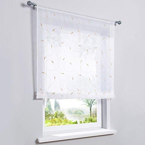 1er Voile Raffrollo mit farbigen Ranken-Stickerei Muster Gardine Fenster Vorhänge sand BxH 140x140cm