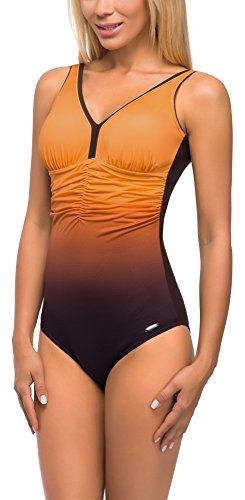 aQuarilla Damen Badeanzug Belize (Braun/Orange, 38)