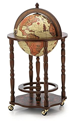 Mappemonde globe terrestre safari bar sur roulette reproduction vintage meuble steampunk