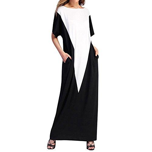 Longra Damen Bodenlanges Kleid Langes Kleider Jersey Maxikleid mit Tasche Kurzarm Sommerkleider...