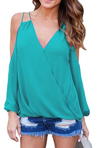 Manches longues épaule froide Slip Backless chemisier en mousseline de soie femmes green