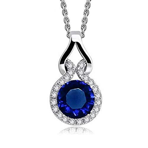 Collana con ciondolo con Rotondo Zaffiro simulato blu Cristalli austriaci di zirconi 18 kt placcato oro bianco per donne 45 cm