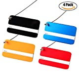 Bulk Baggage Luggage Tags, Identifiers Labels For Travel Suitcases, Metal Cruise Tag Set 4 Pack