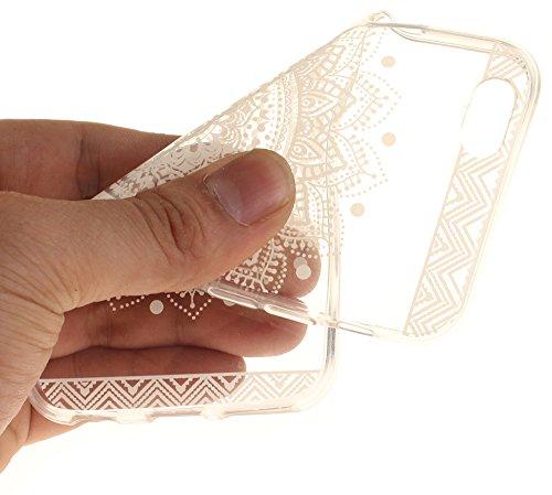 Nnopbeclik Silikon Transparent Hülle Für Apple Iphone 6 / 6S, Ultra Slim Weich TPU Cover Case Neu Design Super Durchsichtig Hohl Luxus Bling Blume Case Etui, Schutzhülle Muster Glänzend Glitzer Strass #28