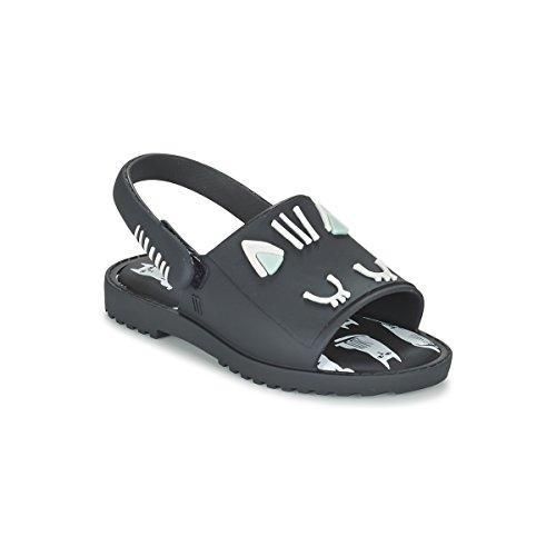 MINI MELISSA - Schwarze Sandale Mia + Fabula, made in Brazil, auf der Vorderseite ein Katzenmuster, ganz aus MELFLEX-Kunststoff, Mädchen-24 (Mädchen Melissa Schuhe)