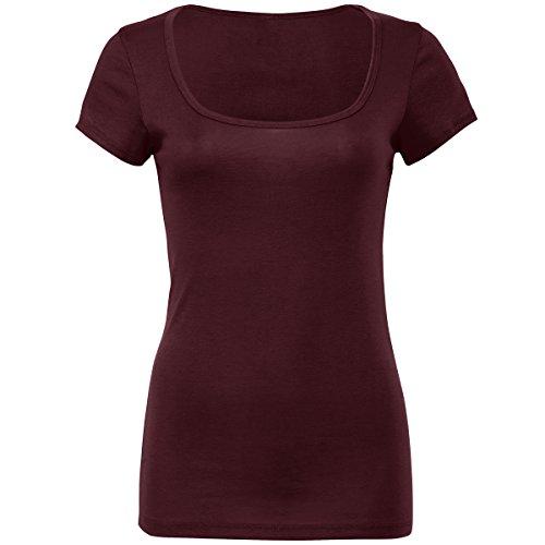 Sheer mini rib scoop neck t-shirt Bella Canvas Streetwear Shirts Donna plum