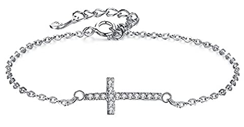 SaySure - 925 Sterling Silver Cross Charms Bracelet With AAA+