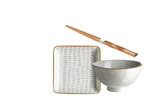 Domestic by Mäser 931043 Série de Murcie, Sushi - Service 18 Pièces, carré pour 6 Personnes, Décoré dans la Couleur Porcelaine, Gris, 62 x 30 x 20 CM, 18 Unités