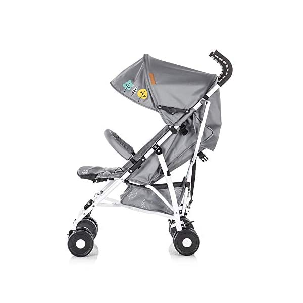 Chipolino pram Ergo 2018, Foldable, 5-Point Safety Belt Front Bracket, Colour:Grey Chipolino Backrest can be adjusted in 2 seat positions by means of belt clip easy to fold; extra long folding top with large visor Handle for easy carrying of the pram 4
