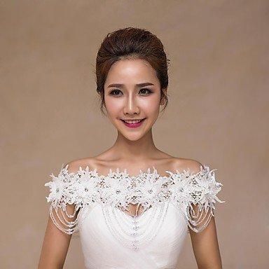 Heart&M Colliers de mariage Colliers Bride Épaule Chaîne Sans manches en dentelle Sequined Wedding Accessing Ivory