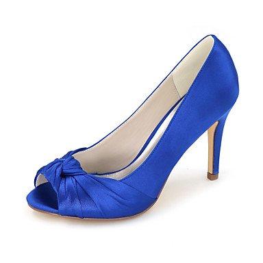 Wuyulunbi@ Scarpe donna raso Primavera Estate della pompa base scarpe matrimonio Stiletto Heel Peep toe per la festa di nozze & Sera Argento Rosso Blu Champagne Blue