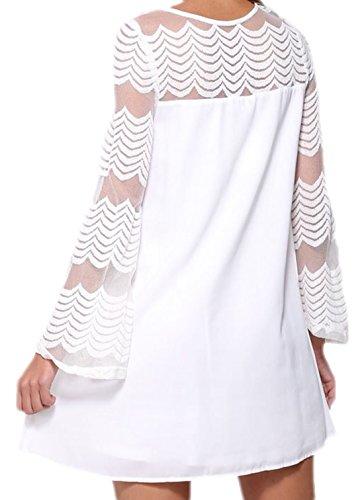 erdbeerloft - Damen Elegant festliche Bluse mit Mesh Parts , S-L, viele Farben Schwarz