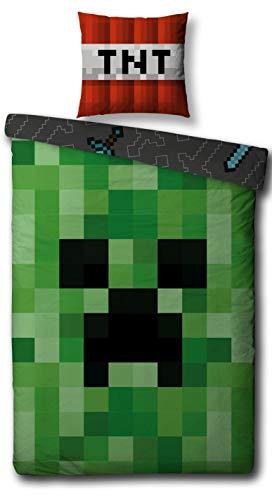 (Familando Wende Bettwäsche Set Minecraft, 135x200cm + 80x80cm, 100% Baumwolle, Motiv Craft Blöcke)