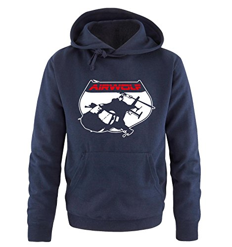 AIRWOLF - LOGO V - Herren Hoodie by Comedy Shirts Navy / Weiss-Rot