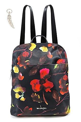 Rucksack von Waipuna aus hochwertigem Nylon, Rucksacktasche mit Schlüsselanhänger, Tasche mit schönen, braunen PU-Leder Details, Blumendruck