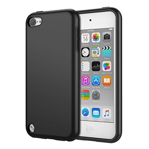 MoKo Hülle Kompatibel mit iPod Touch 2019/iPod Touch 7/ iPod Touch 5/6, 2 in 1 Stoßdämpfende TPU Stoßstange Ultra Slim Schutzhülle mit Hardcover für Apple iPod Touch 6./5. Generation, Schwarz