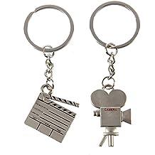 portachiavi - SODIAL(R) 2 Pz Film Appunti macchina fotografica Anello portachiavi argento