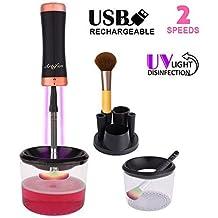 Limpiador eléctrico de brochas de maquillaje y secador y secador USB recargable UV desinfección, limpiador