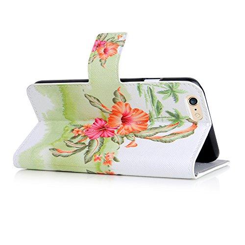 Apple iPhone 6 Handyhülle inklusive Displayfolie Lila Blumen Hawaii