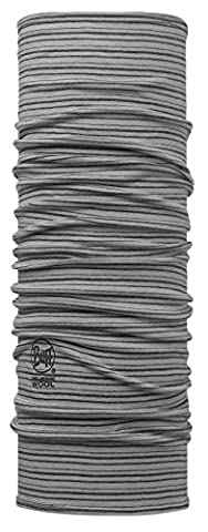BUFF® SET - WOOL Patterned & Dyed Stripes Tubular cloth + UP® Tubular cloth | Dyed merino wool | Neck gaiter | Scarf | Headscarf | Neckerchief | Multi cloth, alle Buff Designs 2016:064. LIGHT GREY STRIPES Dyed