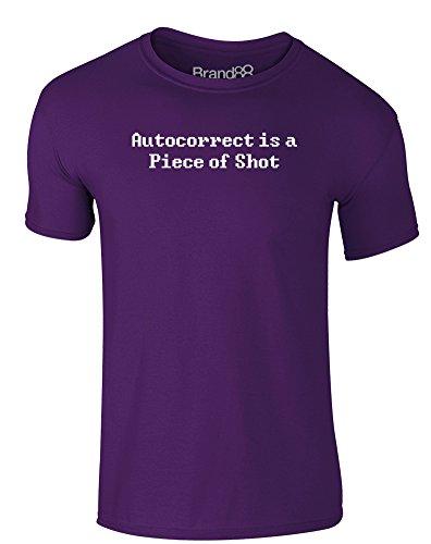 Brand88 - Autocorrect is a Piece of Shot, Erwachsene Gedrucktes T-Shirt Lila/Weiß